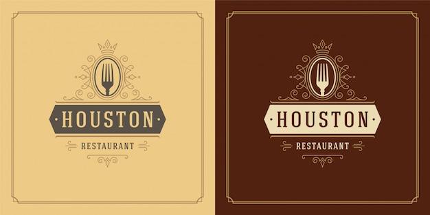 Logo restauracji widelce sylwetka dobra dla menu restauracji
