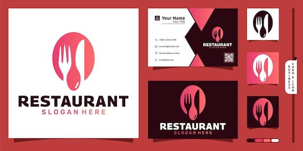Logo restauracji z nowoczesną koncepcją sztućców i projektem wizytówki