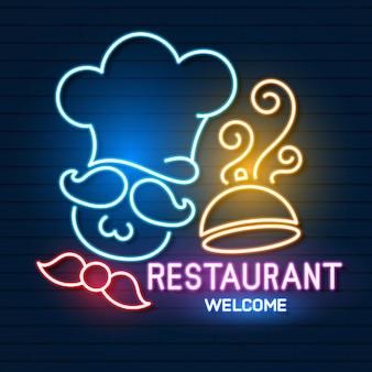 Logo restauracji, znak, godło w stylu neonowym.