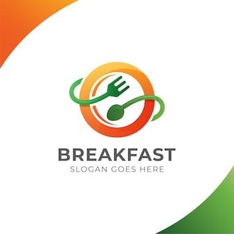 Logo restauracji żywności ekologicznej, śniadanie, ikona symbol zdrowej żywności