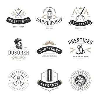 Logo retro dla zakładów fryzjerskich. stare firmy vintage sprawdzone firmy zajmujące się strzyżeniem i stylizacją włosów. salonowe golenie i pielęgnacja wąsów z modnymi fryzurami.