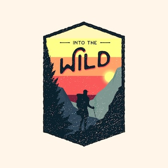 Logo retro odznaka kolorowe dzikiej przygody