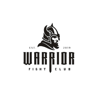 Logo retro vintage viking helmet head face warrior