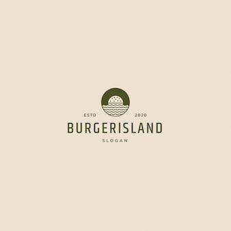 Logo Retro Vintage Wyspa Burger Premium Wektorów
