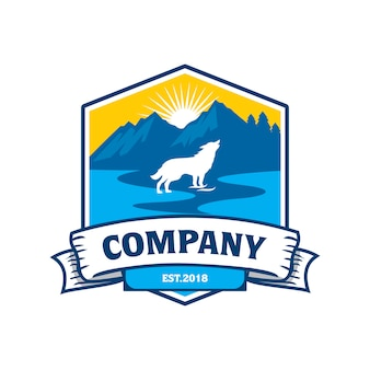 Logo river mountain wolf