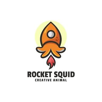 Logo rocket squid prosty styl maskotki