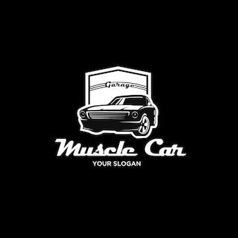 Logo rocznika sylwetka samochodu mięśni