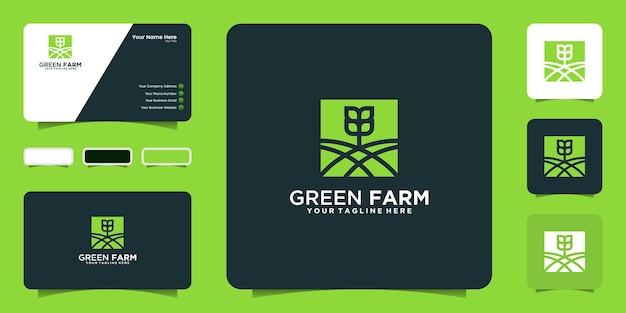 Logo rolnika z zielonej plantacji i inspiracja wizytówką