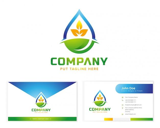Logo rośliny z wizytówką papeterii
