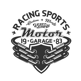 Logo rury wydechowej samochodu wyścigowego