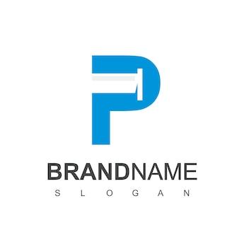 Logo rury z początkowym symbolem p