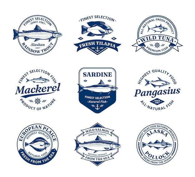 Logo ryb i ilustracje ryb na targi rybne i reklamy rybne