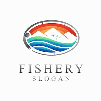 Logo rybołówstwa z koncepcją jeziora