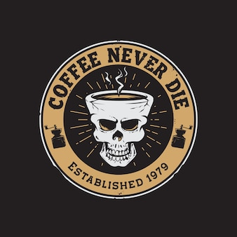 Logo rysunek ręka kubek kawy retro czaszki