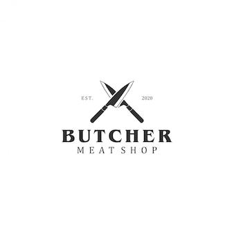 Logo rzeźnika, vintage logo bydła w sklepie mięsnym
