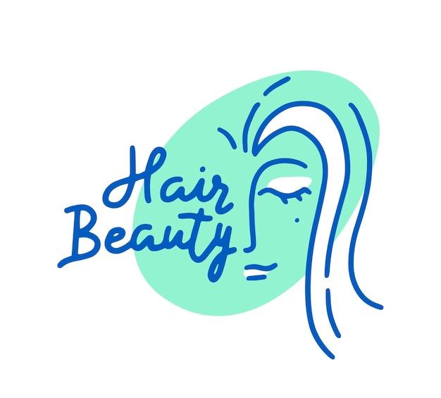 Logo salonu piękności włosów z kobiecą twarzą i zielonym owalem, na białym tle etykieta dla fryzjera, salon dla kobiet, usługa strzyżenia