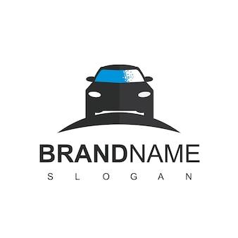 Logo samochodu pikselowego, symbol motoryzacyjny techno