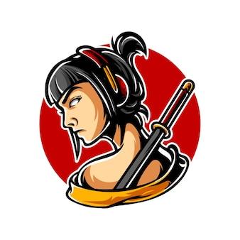 Logo Samurai Geisha E Sport Premium Wektorów