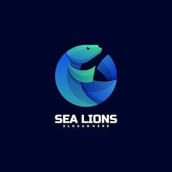 Logo sea lion gradient kolorowy styl