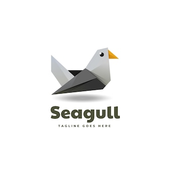 Logo seagull low poly gradient style