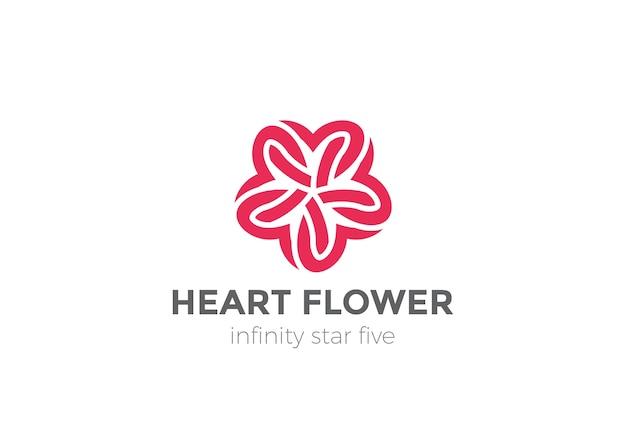 Logo serce gwiazda kwiat na białym tle