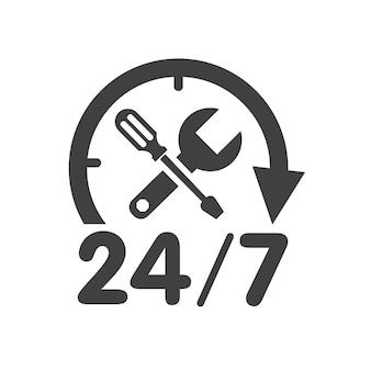 Logo serwisu samochodowego 24/7 ze śrubokrętem i kluczem. ilustracja wektorowa na białym tle