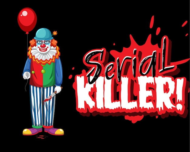 Logo seryjnego zabójcy z przerażającym klaunem