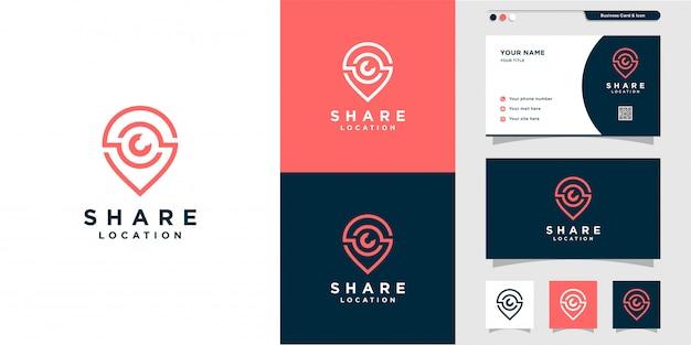 Logo share pin i projekt wizytówki ze stylem graficznym. grafika liniowa, miejsce, mapa, lokalizacja, wizytówka, ikona, logo pin, premium
