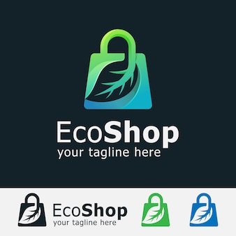 Logo sklepu ekologicznego. torba z logo w kształcie liścia