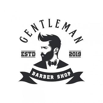 Logo sklepu fryzjerskiego dżentelmena