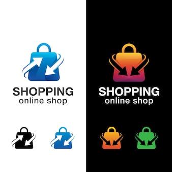 Logo sklepu internetowego torba na zakupy, szablon