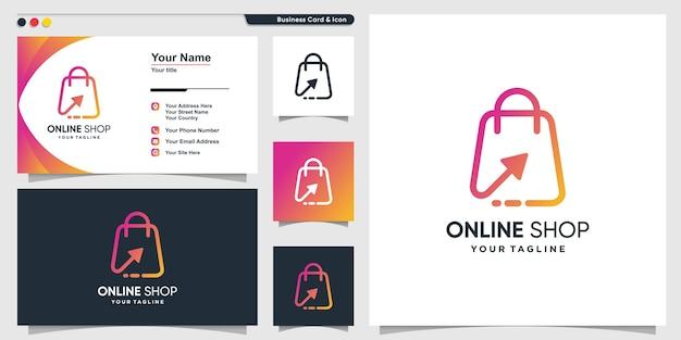 Logo sklepu internetowego ze strzałką w stylu gradientu linii i szablonem projektu wizytówki