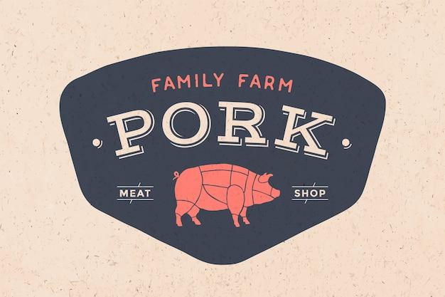 Logo sklepu mięsnego rzeźnika z ikoną świni, tekst sklep z mięsem wieprzowym. szablon graficzny logo dla branży mięsnej - sklep, rynek, restauracja lub - menu, plakat, baner, naklejka, etykieta. ilustracja