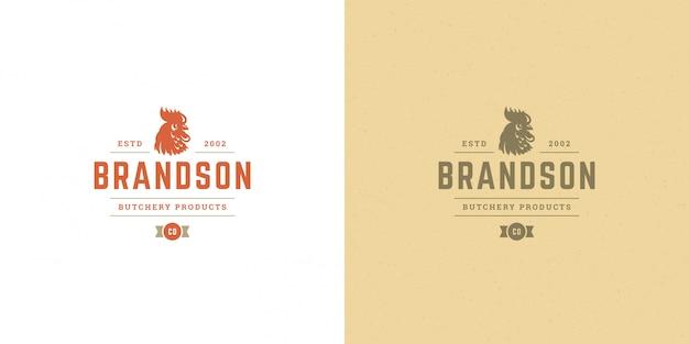 Logo sklepu mięsnego, sylwetka koguta, dobra na fermę drobiu lub odznakę restauracji