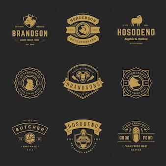 Logo sklepu mięsnego zestaw ilustracji wektorowych dobre dla odznak gospodarstwa lub restauracji ze zwierzętami i sylwetkami mięsa. retro typografia emblematy projekt.