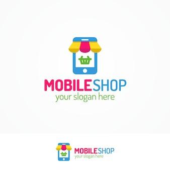 Logo sklepu mobilnego z telefonem sylwetkowym i koszykiem może służyć do obsługi mobilnej, sklepu ze smartfonami