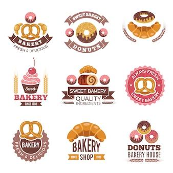 Logo sklepu piekarniczego, ciasteczka pączki świeże babeczki i chleb na odznaki rynku piekarniczego