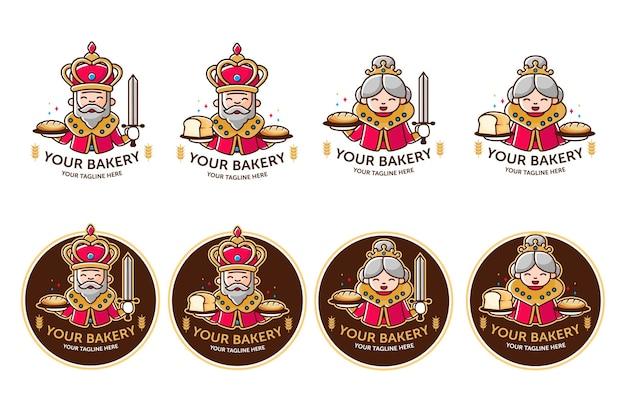 Logo sklepu piekarniczego z maskotką króla i królowej