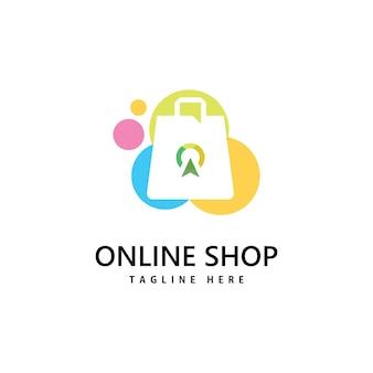 Logo sklepu z torbą na zakupy. projektowanie logo zakupów online