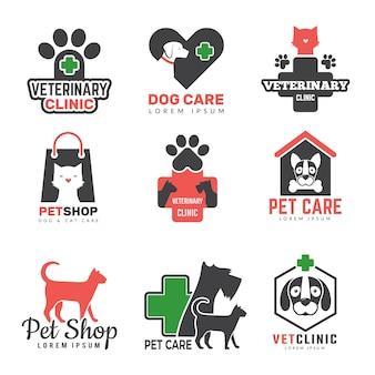 Logo sklepu ze zwierzętami. klinika weterynaryjna dla zwierząt domowych psów koty szablon symboli ochrony ochrony