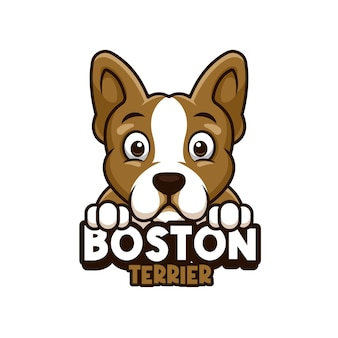 Logo sklepu zoologicznego, opieki nad zwierzętami lub własnego psa z boston terrierem