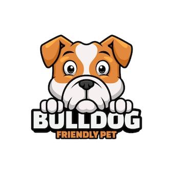 Logo sklepu zoologicznego, opieki nad zwierzętami lub własnego psa z bulldogiem
