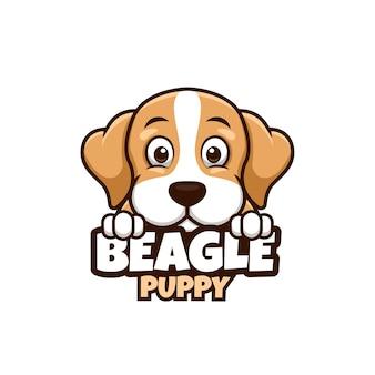 Logo sklepu zoologicznego, opieki nad zwierzętami lub własnego psa z psem beagle