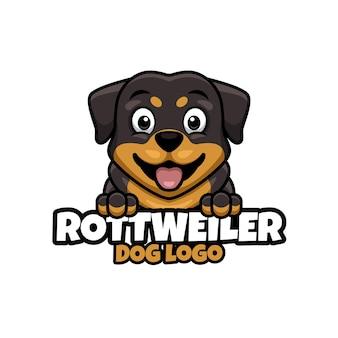 Logo sklepu zoologicznego, opieki nad zwierzętami lub własnego psa z rottweilerem