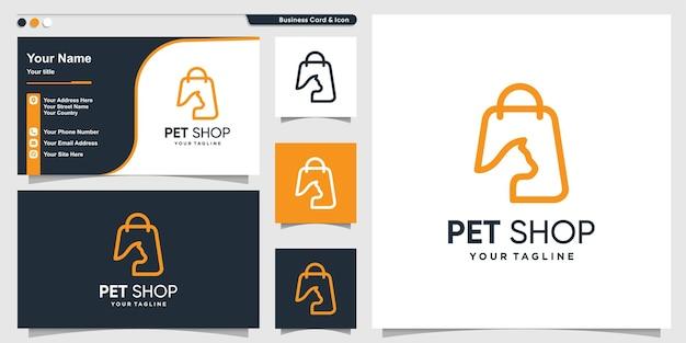 Logo sklepu zoologicznego z nowoczesnym stylem gradientowej linii graficznej i szablonem projektu wizytówki premium wektorów