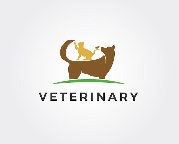 Logo sklepu zoologicznego. zwierzęta kot, pies, ptak