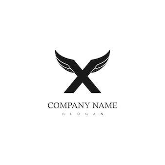 Logo skrzydła z inicjałem x