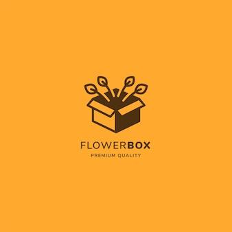 Logo skrzynki ogrodowej z kwiatkiem po wyjęciu z pudełka w minimalistycznym stylu vintage.