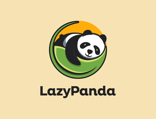 Logo sleepy panda, szablon ikony logo leniwy panda