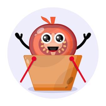 Logo słodkiego charakteru koszyka na zakupy pomidora